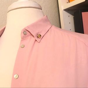 Cool Pink Button Down Blouse with Edge